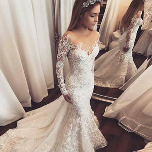 Mermaid Off Shoulder Long Sleeves Lace Wedding Dresses Bride Gowns - NICEOO