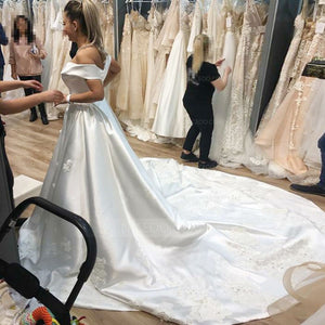 White A Line Off Shoulder Satin Cathedral Train Wedding Dresses Bride Gowns