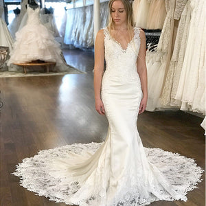 Ivory V Neck Sleeveless Open Back Mermaid Lace Wedding Dresses Bride Gowns