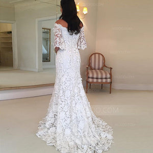 White Off Shoulder Half Sleeves Lace Wedding Dresses Bride Gowns