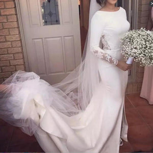 White Round Neck Long Sleeves Backless Mermaid Long Wedding Dresses Bride Gowns