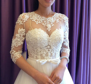 sexy Long sleeve lace tulle a-line elegant wedding dress