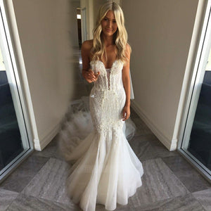 Ivory Sweetheart Long Mermaid Wedding Dresses Bride Gowns With Lace