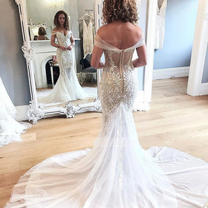 Mermaid Sweetheart Off Shoulder Wedding Dresses Bride Gowns - NICEOO