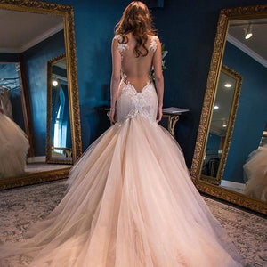 Spaghetti Strap Sweetheart Open Back Mermaid Lace Wedding Dresses Bride Gowns