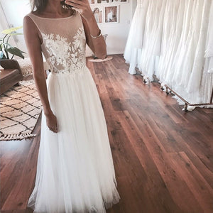 White Round Neck Sleeveless Open Back Tulle Bride Gowns Wedding Dresses