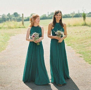 Elegant Green Halter A Line Empire Waist Long Chiffon Bridesmaid Dresses Evening Dresses - NICEOO