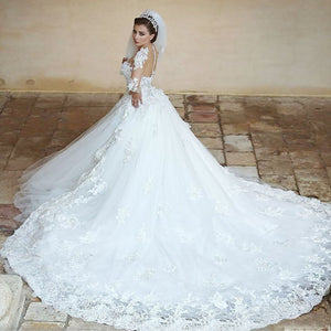A Line Sweetheart Long Sleeves Lace Cathedral Train Wedding Dresses Bride Gowns - NICEOO