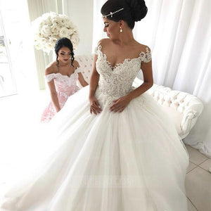A Line Off Shoulder Sweetheart Tulle Bride Gowns Wedding Dresses - NICEOO