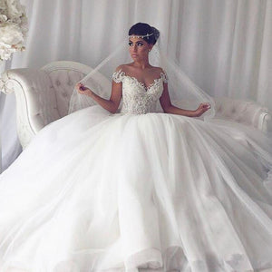 A Line Off Shoulder Sweetheart Tulle Bride Gowns Wedding Dresses