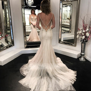 Spaghetti Strap Sweetheart Open Back Mermaid Satin Wedding Dresses Bride Gowns