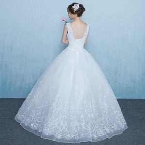A Line Strap Sweetheart Tulle Wedding Dresses Bride Gowns - NICEOO