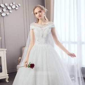 White A Line Round Neck Cap Sleeves Tulle Wedding Dresses Bride Gowns