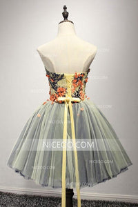 A Line Sweetheart Open Back Tulle Homecoming Dresses Short Cocktail Dresses With Appliques