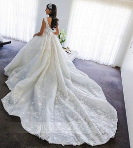 Ivory A Line Strap V Neck Sleeveless Backless Wedding Dresses Bride Gown
