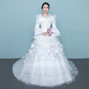 A Line Round Neck Long Sleeves Cathedral Train Wedding Dresses Bride Gowns - NICEOO