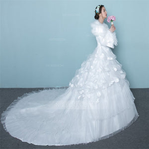 A Line Round Neck Long Sleeves Cathedral Train Wedding Dresses Bride Gowns