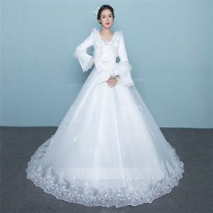 A Line Round Neck Long Sleeves Wedding Dresses Bride Gown - NICEOO