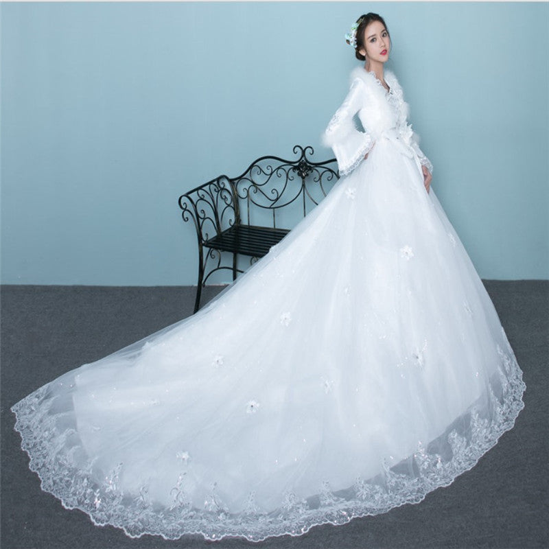 74130a38a295 A Line Round Neck Long Sleeves Wedding Dresses Bride Gown - NICEOO