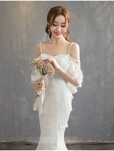 Spaghetti Strap Off Shoulder Open Back Mermaid Wedding Dresses Bride Gowns