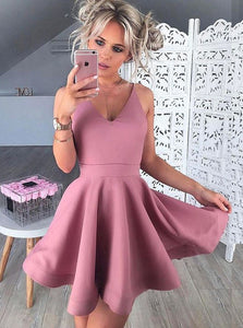 Simple A Line V Neck Sleeveless Mini Homecoming Dresses Evening Dresses
