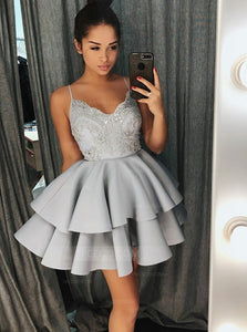 Spaghetti Strap A Line V Neck Mini Homecoming Dresses Cocktail Dresses