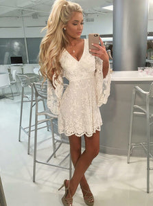 Ivory V Neck Long Sleeves Mini Homecoming Dresses Lace Cocktail Dresses