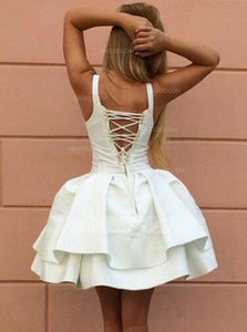 White A Line V Neck Short Homecoming Dresses Satin Cocktail Dresses