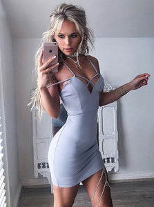 Sexy Spaghetti Strap Deep V Neck Slim Line Homecoming Dresses Cocktail Dresses