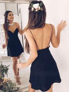 Black Spaghetti Strap V Neck Open Back Chiffon Homecoming Dresses Cocktail Dresses - NICEOO