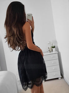 Spaghetti Strap V Neck Open Back Mini Lace Homecoming Dresses Cocktail Dresses