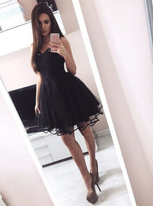 Black A Line Sweetheart Mini Homecoming Dresses Satin Cocktail Dresses
