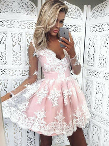 Cute V Neck Long Sleeves Mini Homecoming Dresses Cocktail Dresses - NICEOO