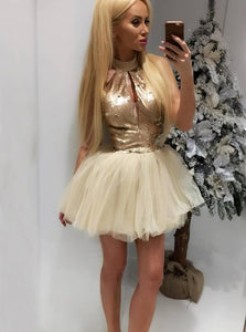 Unique Gold A Line Halter Cut Out Mini Homecoming Dresses Cocktail Dresses With Sequin