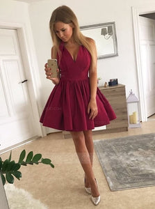 A Line Strap V Neck Satin Homecoming Dresses Cocktail Dresses - NICEOO
