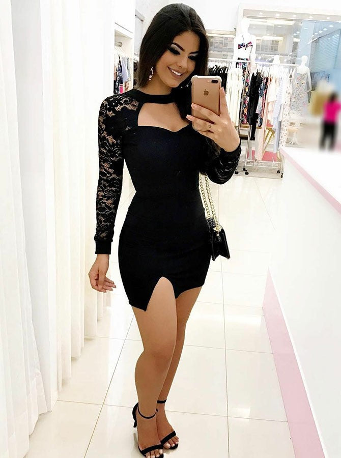 cdd54ee433c Sexy Slim Line Long Sleeves Homecoming Dresses Mini Cocktail Dresses ...