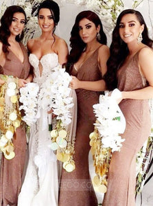 Brown V Neck Sleeveless Slim Line Side Split Bridesmaid Dresses - NICEOO