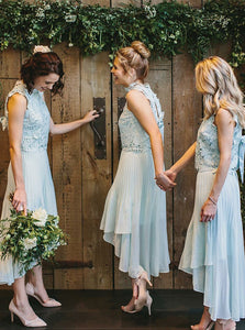Cute Round Neck Sleeveless High Low Lace Bridesmaid Dresses - NICEOO