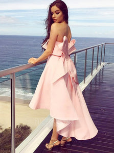 Pink Strapless High Low Satin Bridesmaid Dresses With Bow - NICEOO