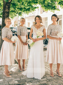 Simple Round Neck Short Sleeves Tea Length Bridesmaid Dresses
