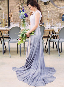 Dreamy V Neck Sleeveless V Back Floor Length Chiffon Bridesmaid Dresses - NICEOO