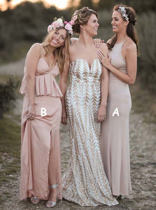 Elegant Two Styles Spaghetti Strap Long Bridesmaid Dresses