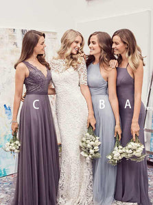 Simple Three Styles Sleeveless Long Bridesmaid Dresses