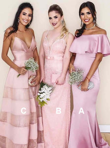 Pretty Pink Three Styles Long Bridesmaid Dresses - NICEOO
