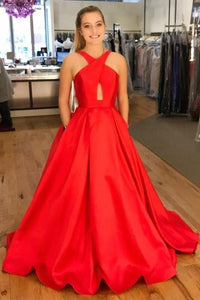 A-line Satin Long Red Prom Dresses Charming evening dresses