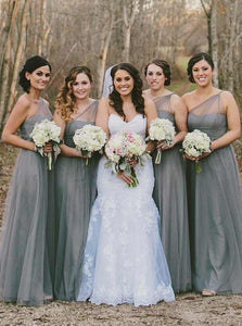Gray A Line One Shoulder Empire Waist Tulle Bridesmaid Dresses