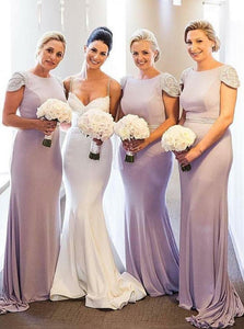 Elegant Round Neck Cap Sleeves Long Satin Bridesmaid Dresses