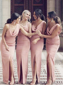 Unique V Neck Sleeveless Side Split Open Back Satin Bridesmaid Dresses