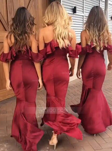Burgundy Spaghetti Strap Off Shoulder Tea Length Slim Line Bridesmaid Dresses - NICEOO