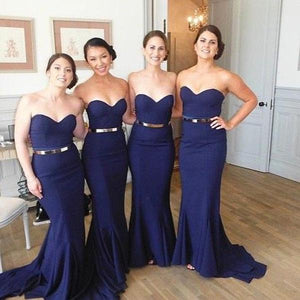 Sexy Navy Blue Sweetheart Empire Waist Sleeveless Mermaid Satin Bridesmaid Dresses Evening Dresses